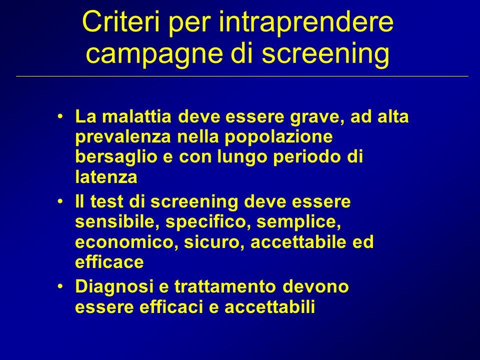 Criteri per intraprendere campagne di screening La malattia deve essere grave, ad alta prevalenza nella popolazione bersaglio e con lungo periodo di l