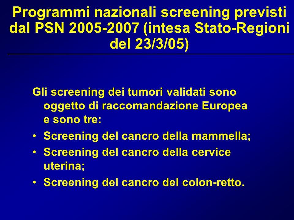 Programmi nazionali screening previsti dal PSN 2005-2007 (intesa Stato-Regioni del 23/3/05) Gli screening dei tumori validati sono oggetto di raccoman