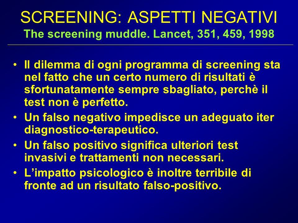 SCREENING: ASPETTI NEGATIVI The screening muddle. Lancet, 351, 459, 1998 Il dilemma di ogni programma di screening sta nel fatto che un certo numero d