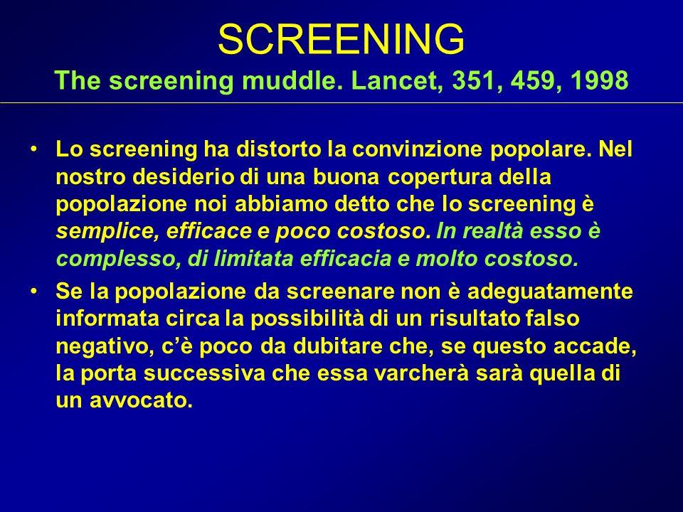 SCREENING The screening muddle. Lancet, 351, 459, 1998 Lo screening ha distorto la convinzione popolare. Nel nostro desiderio di una buona copertura d