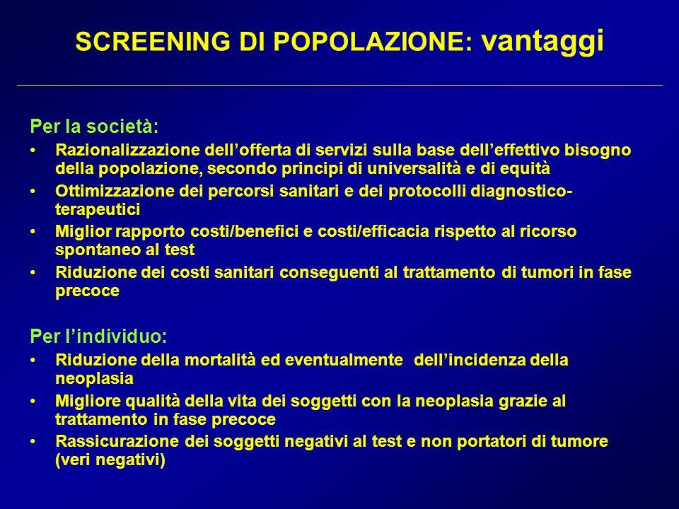 SCREENING DI POPOLAZIONE: vantaggi Per la società: Razionalizzazione dellofferta di servizi sulla base delleffettivo bisogno della popolazione, second