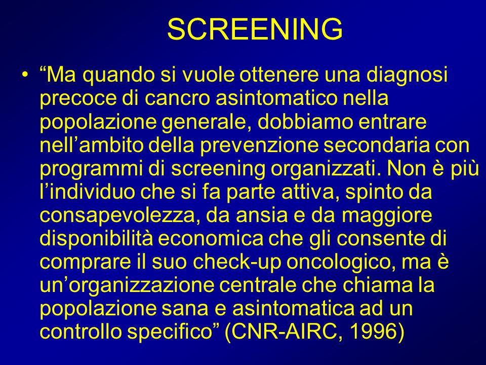 Gli studi caso-controllo per la valutazione di efficacia dei programmi di screening: esempio teorico (dati fittizi) Invitati (n° = 2.000) Nessun test (n=1.000) Almeno 1 test (n=1.000) 16 CRC984 non CRC 16 CRC 8 morti per CRC Casi = 14 soggetti deceduti per CRC (screen=6; non screen=8) Controlli = (2000-14) soggetti non deceduti per CRC (su 100: screen= 50; non screen=50) Odds Ratio (rischio relativo) = (6/8) / (50/50) = 0,75 6 morti per CRC