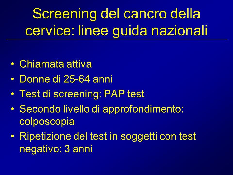 Screening del cancro della cervice: linee guida nazionali Chiamata attiva Donne di 25-64 anni Test di screening: PAP test Secondo livello di approfond