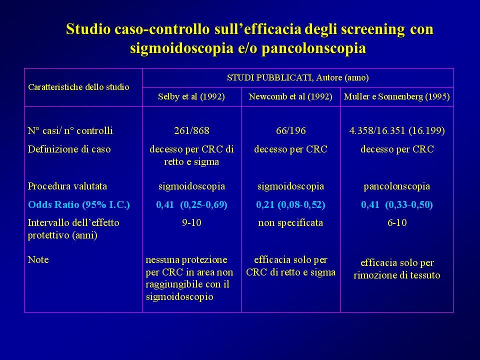Studio caso-controllo sullefficacia degli screening con sigmoidoscopia e/o pancolonscopia Studio caso-controllo sullefficacia degli screening con sigm