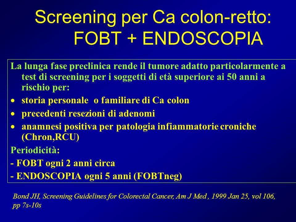 Screening per Ca colon-retto: FOBT + ENDOSCOPIA La lunga fase preclinica rende il tumore adatto particolarmente a test di screening per i soggetti di