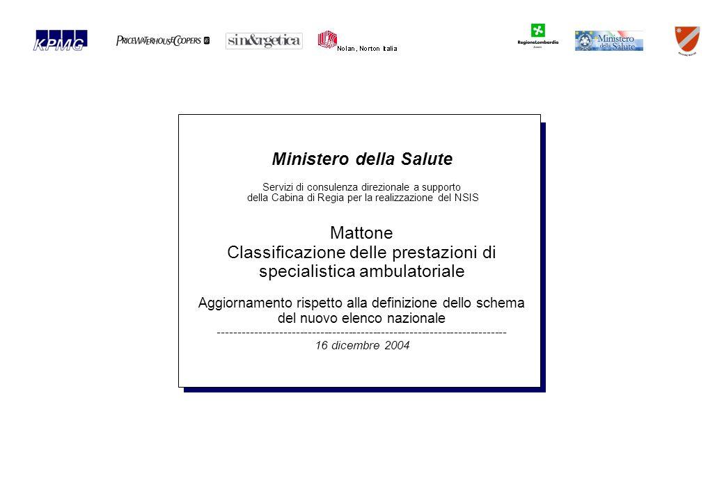 Ministero della Salute Servizi di consulenza direzionale a supporto della Cabina di Regia per la realizzazione del NSIS Mattone Classificazione delle prestazioni di specialistica ambulatoriale Aggiornamento rispetto alla definizione dello schema del nuovo elenco nazionale ----------------------------------------------------------------------- 16 dicembre 2004