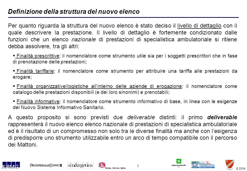© 2004 3 Definizione della struttura del nuovo elenco Per quanto riguarda la struttura del nuovo elenco è stato deciso il livello di dettaglio con il quale descrivere la prestazione.