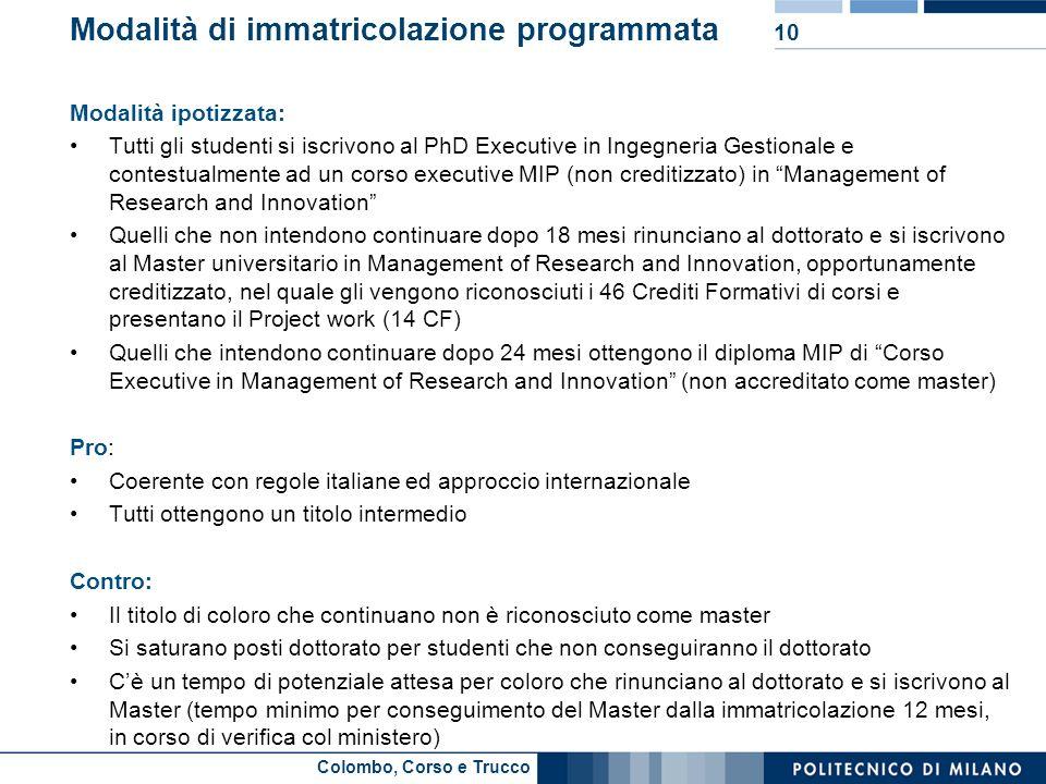 Colombo, Corso e Trucco Modalità di immatricolazione programmata Modalità ipotizzata: Tutti gli studenti si iscrivono al PhD Executive in Ingegneria G