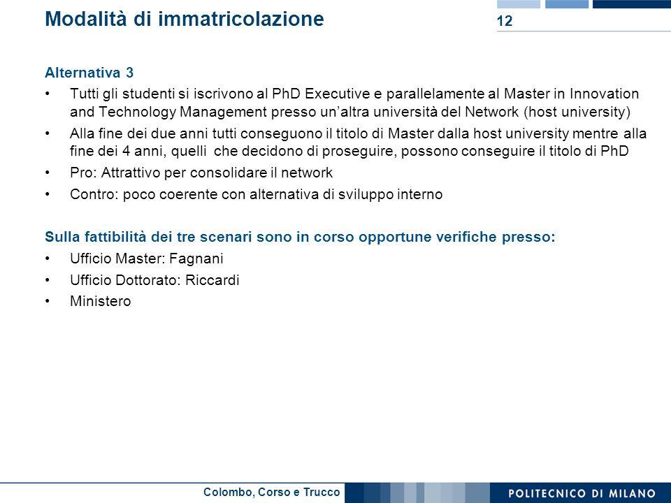 Colombo, Corso e Trucco Modalità di immatricolazione Alternativa 3 Tutti gli studenti si iscrivono al PhD Executive e parallelamente al Master in Inno