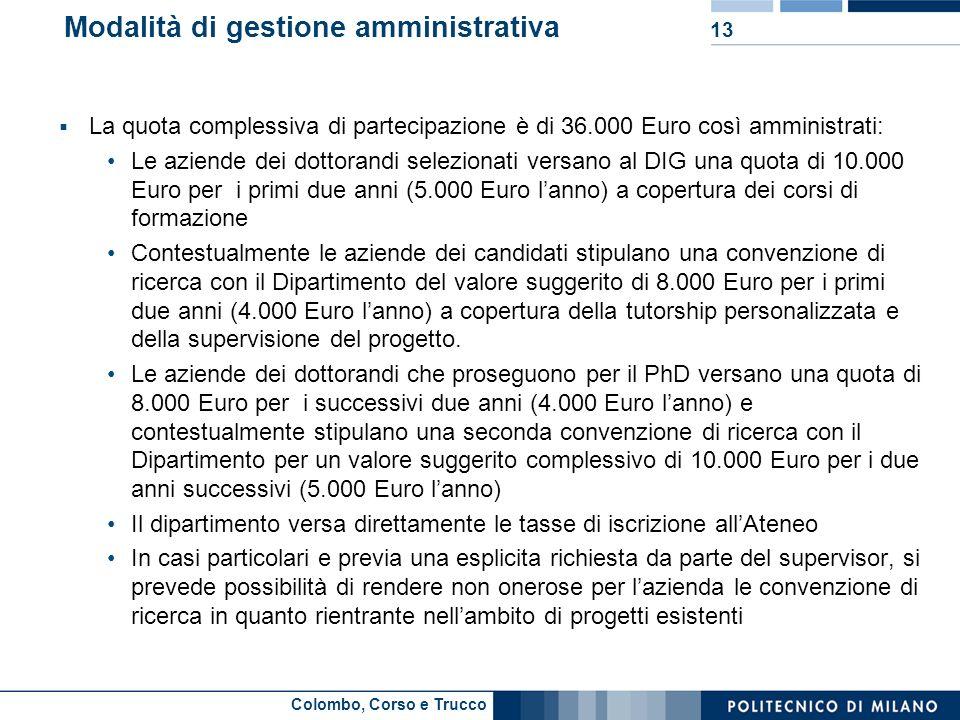 Colombo, Corso e Trucco Modalità di gestione amministrativa La quota complessiva di partecipazione è di 36.000 Euro così amministrati: Le aziende dei