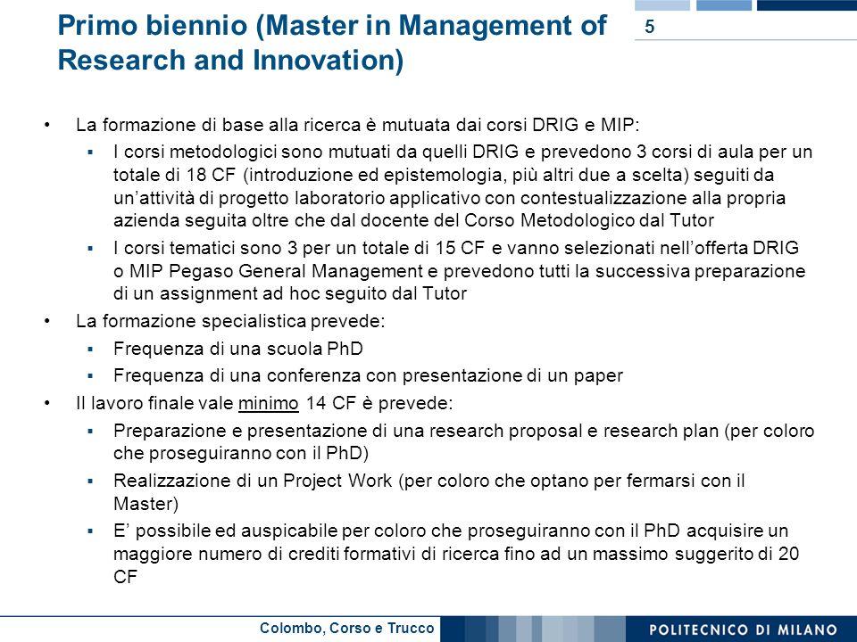 Colombo, Corso e Trucco Primo biennio (Master in Management of Research and Innovation) La formazione di base alla ricerca è mutuata dai corsi DRIG e