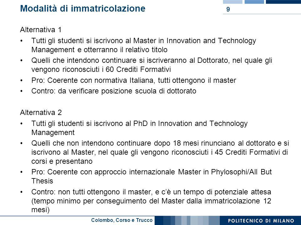 Colombo, Corso e Trucco Modalità di immatricolazione Alternativa 1 Tutti gli studenti si iscrivono al Master in Innovation and Technology Management e