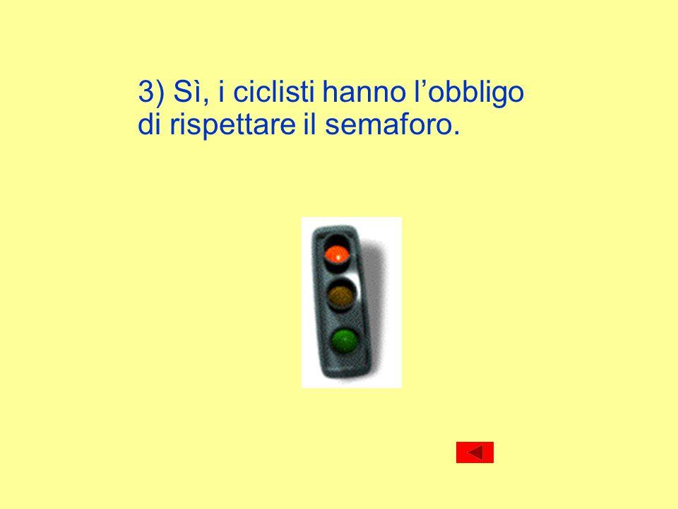3) Sì, i ciclisti hanno lobbligo di rispettare il semaforo.
