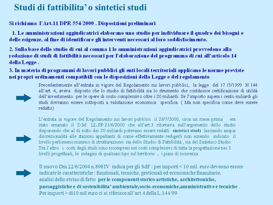 I NUVV L.549/1995 : Fondo rotativo per la progettualita aveva introdotto lo studio di fattibilita ed una relazione tecnico-economica di raccordo con l
