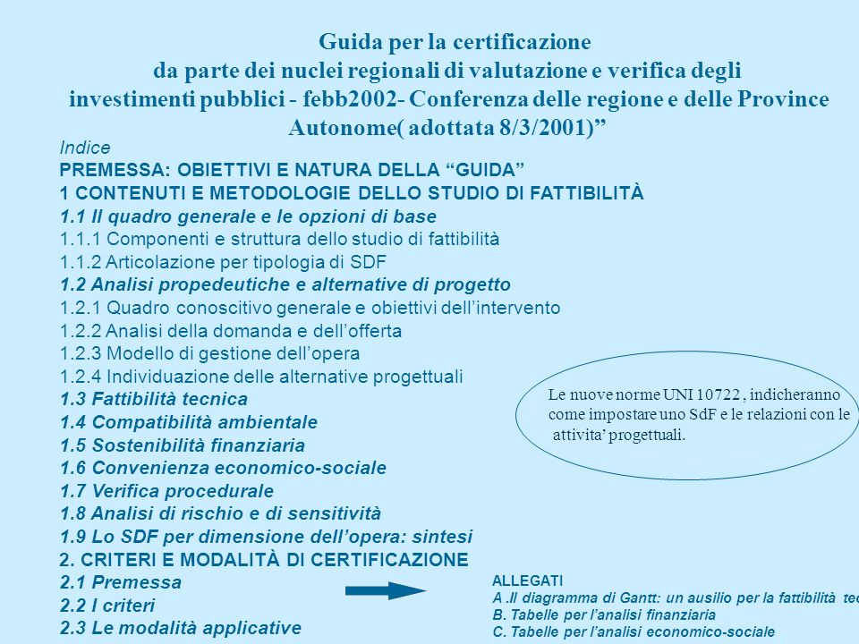 Studi di fattibilita o sintetici studi Il nuovo Dm 22/6/2004 n.898 IV indica per gli SdF : per importi < 10 mil. euro deveono esssre indicate le carat