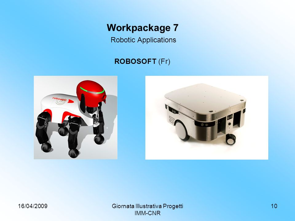 16/04/2009Giornata Illustrativa Progetti IMM-CNR 10 Workpackage 7 Robotic Applications ROBOSOFT (Fr)