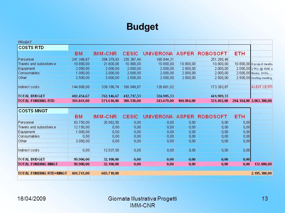16/04/2009Giornata Illustrativa Progetti IMM-CNR 13 Budget
