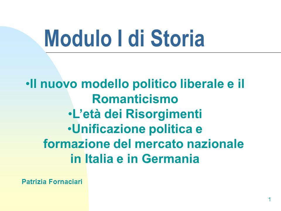 1 Modulo I di Storia Patrizia Fornaciari Il nuovo modello politico liberale e il Romanticismo Letà dei Risorgimenti Unificazione politica e formazione
