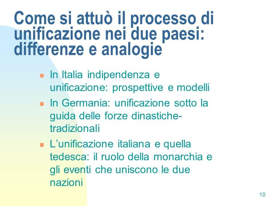 10 Come si attuò il processo di unificazione nei due paesi: differenze e analogie In Italia indipendenza e unificazione: prospettive e modelli In Germ