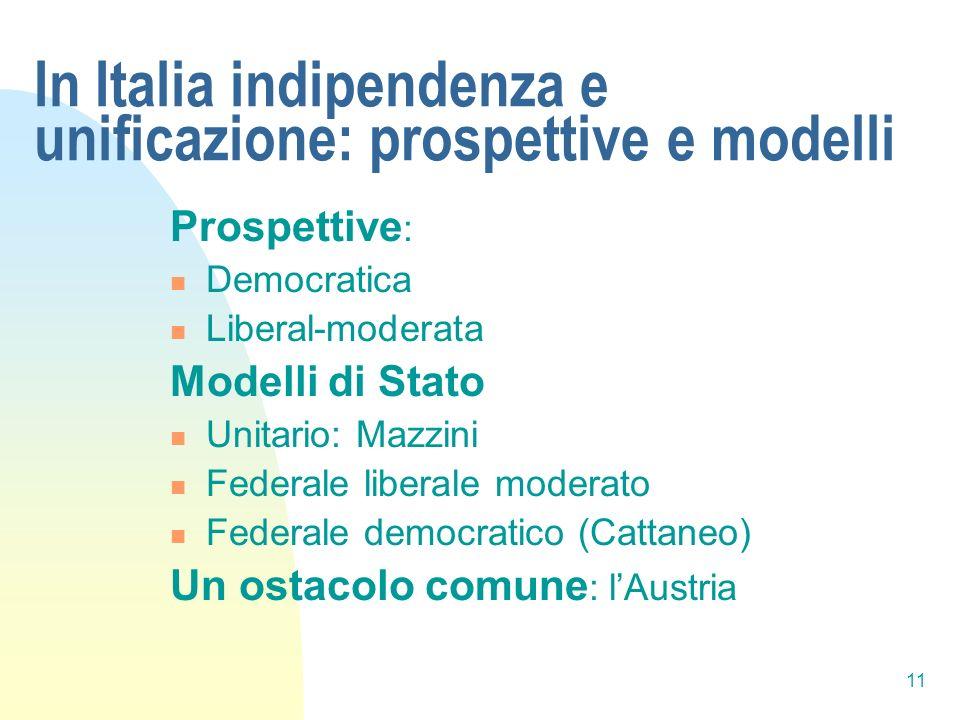 11 In Italia indipendenza e unificazione: prospettive e modelli Prospettive : Democratica Liberal-moderata Modelli di Stato Unitario: Mazzini Federale
