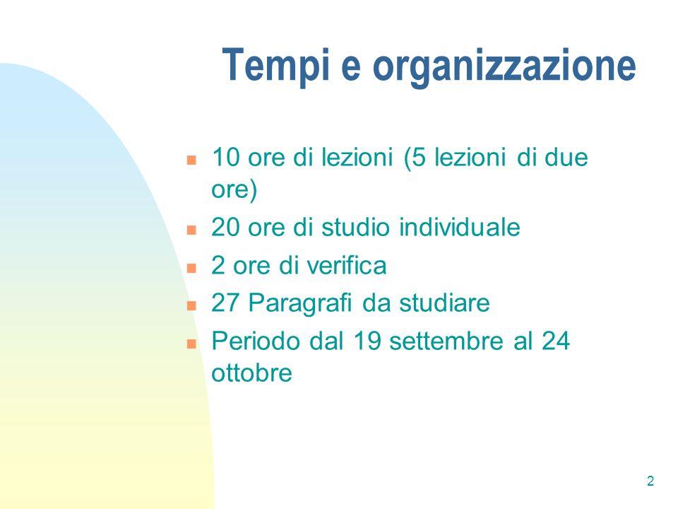 2 Tempi e organizzazione 10 ore di lezioni (5 lezioni di due ore) 20 ore di studio individuale 2 ore di verifica 27 Paragrafi da studiare Periodo dal