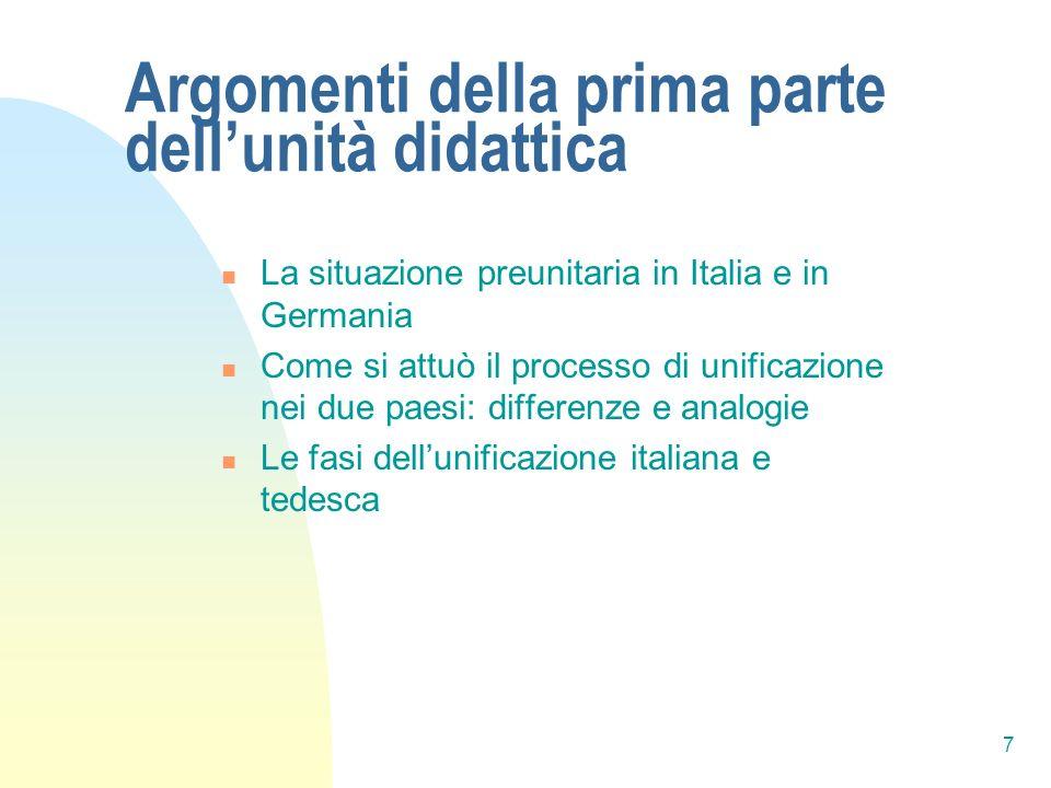 7 Argomenti della prima parte dellunità didattica La situazione preunitaria in Italia e in Germania Come si attuò il processo di unificazione nei due