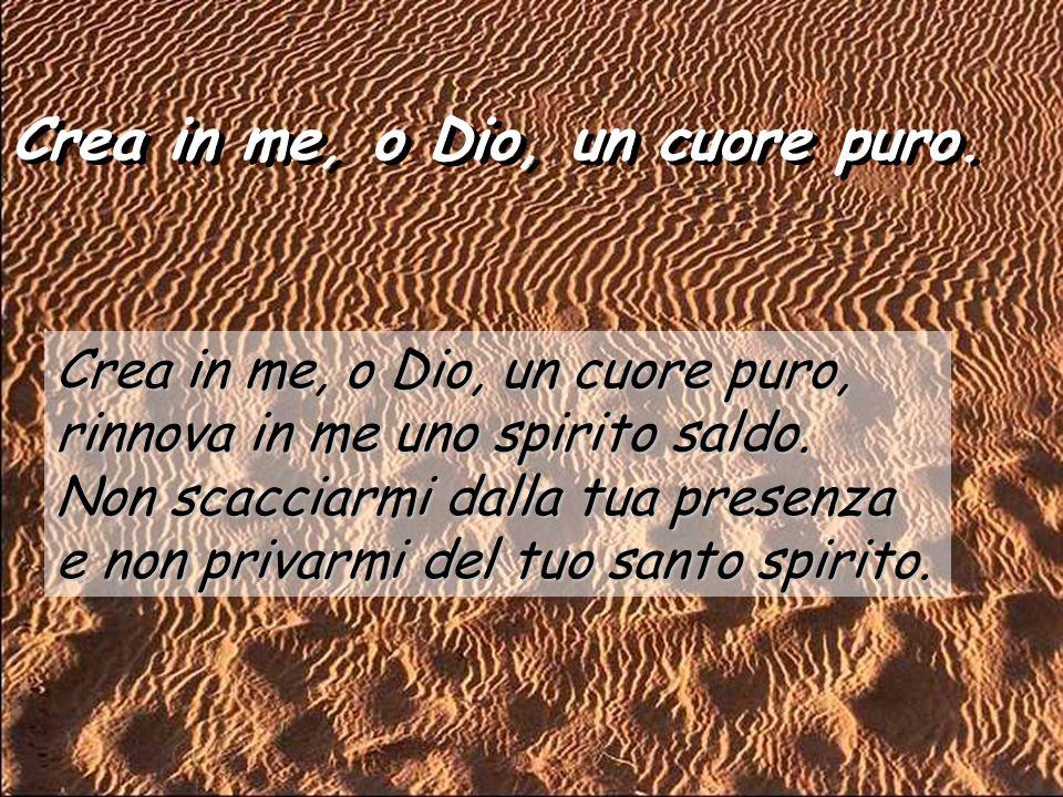 Salmo 50 Crea in me, o Dio, un cuore puro. Pietà di me, o Dio, nel tuo amore; nella tua grande misericordia cancella la mia iniquità. Lavami tutto dal