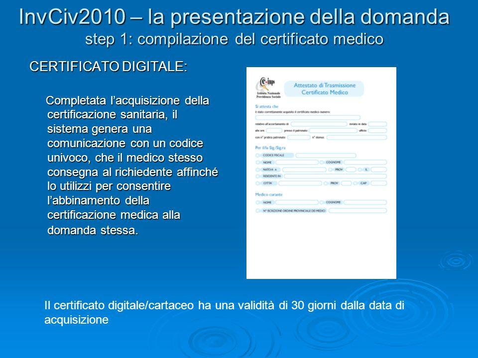 CERTIFICATO DIGITALE: Completata lacquisizione della certificazione sanitaria, il sistema genera una comunicazione con un codice univoco, che il medic