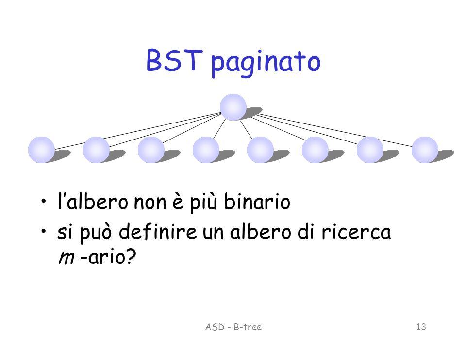 ASD - B-tree13 BST paginato lalbero non è più binario si può definire un albero di ricerca m -ario