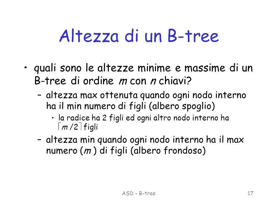 ASD - B-tree17 Altezza di un B-tree quali sono le altezze minime e massime di un B-tree di ordine m con n chiavi.