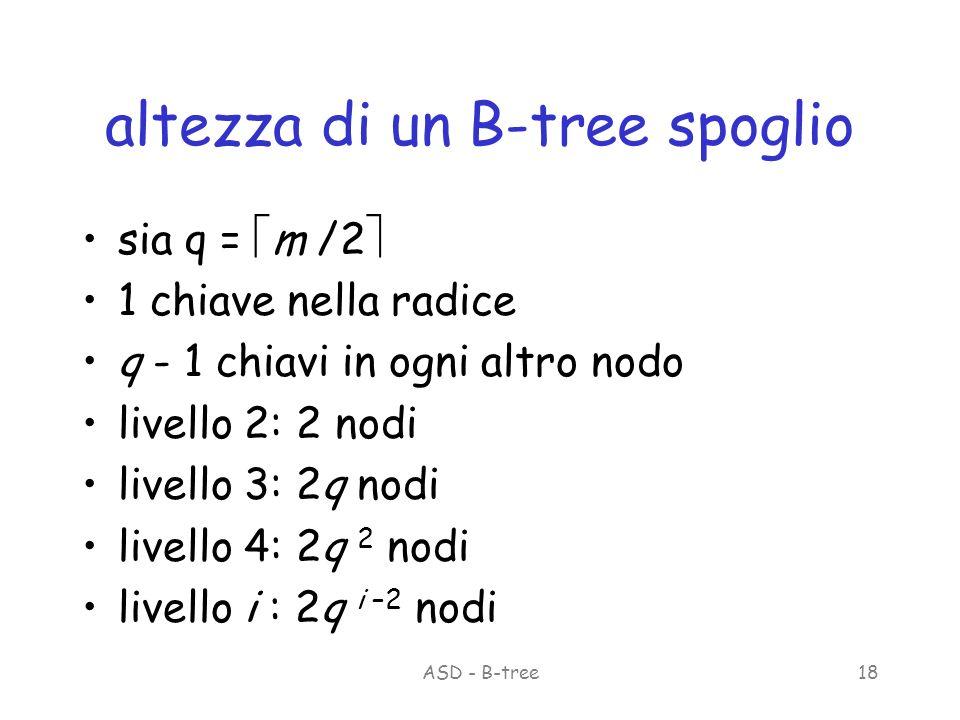 ASD - B-tree18 altezza di un B-tree spoglio sia q = m /2 1 chiave nella radice q - 1 chiavi in ogni altro nodo livello 2: 2 nodi livello 3: 2q nodi livello 4: 2q 2 nodi livello i : 2q i –2 nodi