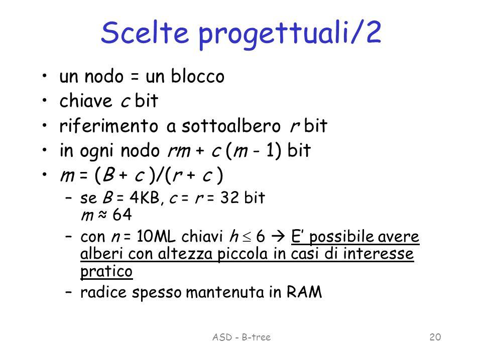 ASD - B-tree20 Scelte progettuali/2 un nodo = un blocco chiave c bit riferimento a sottoalbero r bit in ogni nodo rm + c (m - 1) bit m = (B + c )/(r + c ) –se B = 4KB, c = r = 32 bit m 64 –con n = 10ML chiavi h 6 E possibile avere alberi con altezza piccola in casi di interesse pratico –radice spesso mantenuta in RAM