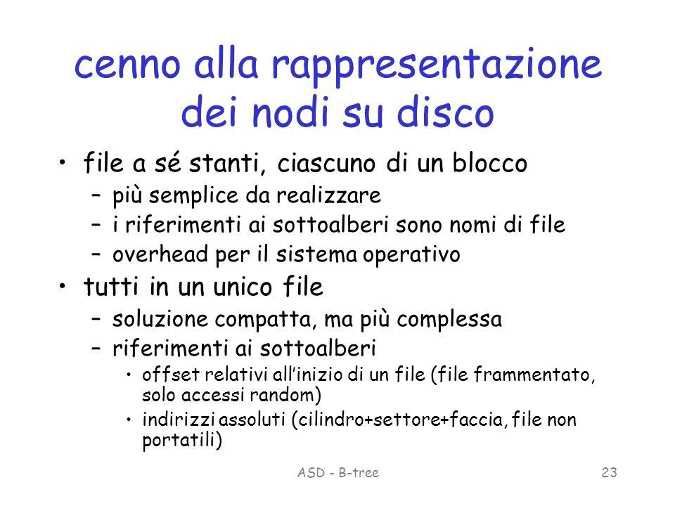 ASD - B-tree23 cenno alla rappresentazione dei nodi su disco file a sé stanti, ciascuno di un blocco –più semplice da realizzare –i riferimenti ai sottoalberi sono nomi di file –overhead per il sistema operativo tutti in un unico file –soluzione compatta, ma più complessa –riferimenti ai sottoalberi offset relativi allinizio di un file (file frammentato, solo accessi random) indirizzi assoluti (cilindro+settore+faccia, file non portatili)