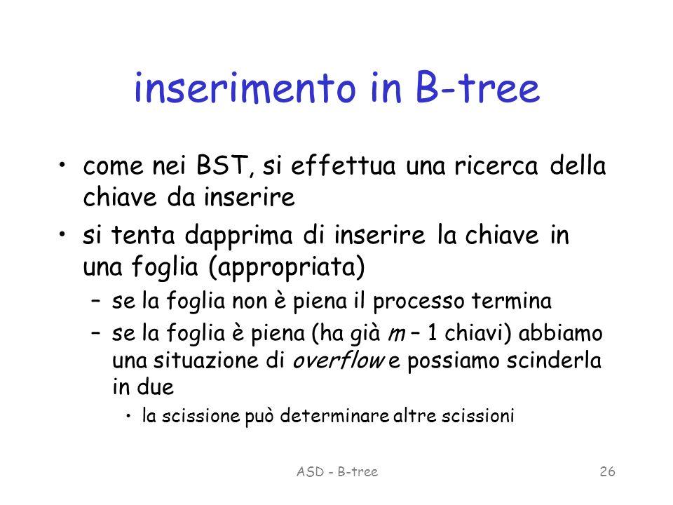 ASD - B-tree26 inserimento in B-tree come nei BST, si effettua una ricerca della chiave da inserire si tenta dapprima di inserire la chiave in una foglia (appropriata) –se la foglia non è piena il processo termina –se la foglia è piena (ha già m – 1 chiavi) abbiamo una situazione di overflow e possiamo scinderla in due la scissione può determinare altre scissioni
