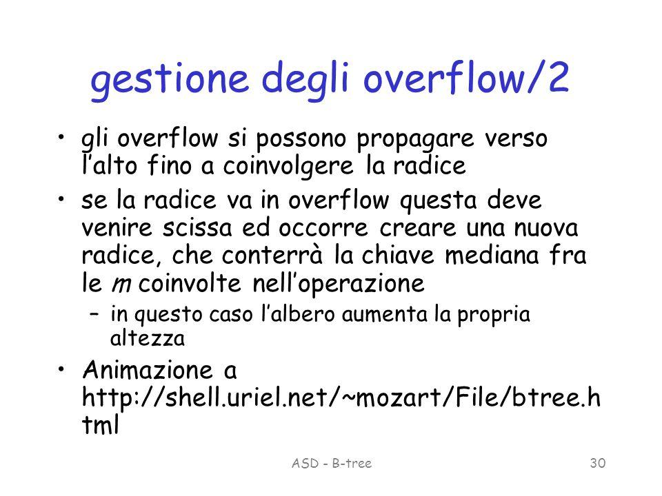 ASD - B-tree30 gestione degli overflow/2 gli overflow si possono propagare verso lalto fino a coinvolgere la radice se la radice va in overflow questa deve venire scissa ed occorre creare una nuova radice, che conterrà la chiave mediana fra le m coinvolte nelloperazione –in questo caso lalbero aumenta la propria altezza Animazione a http://shell.uriel.net/~mozart/File/btree.h tml