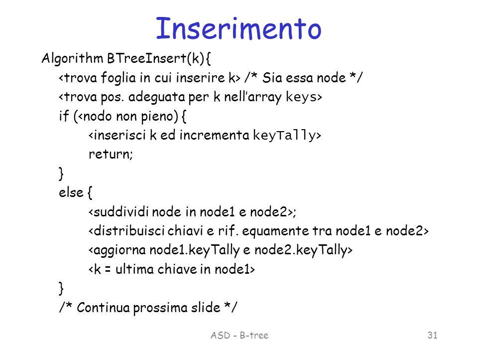ASD - B-tree31 Inserimento Algorithm BTreeInsert(k) { /* Sia essa node */ if (<nodo non pieno) { return; } else { ; } /* Continua prossima slide */