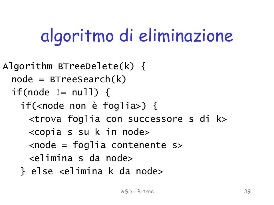 ASD - B-tree39 algoritmo di eliminazione Algorithm BTreeDelete(k) { node = BTreeSearch(k) if(node != null) { if( ) { } else