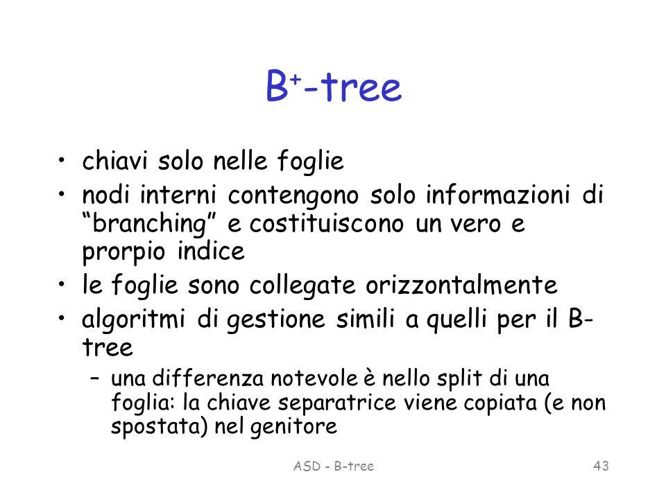 ASD - B-tree43 B + -tree chiavi solo nelle foglie nodi interni contengono solo informazioni di branching e costituiscono un vero e prorpio indice le foglie sono collegate orizzontalmente algoritmi di gestione simili a quelli per il B- tree –una differenza notevole è nello split di una foglia: la chiave separatrice viene copiata (e non spostata) nel genitore