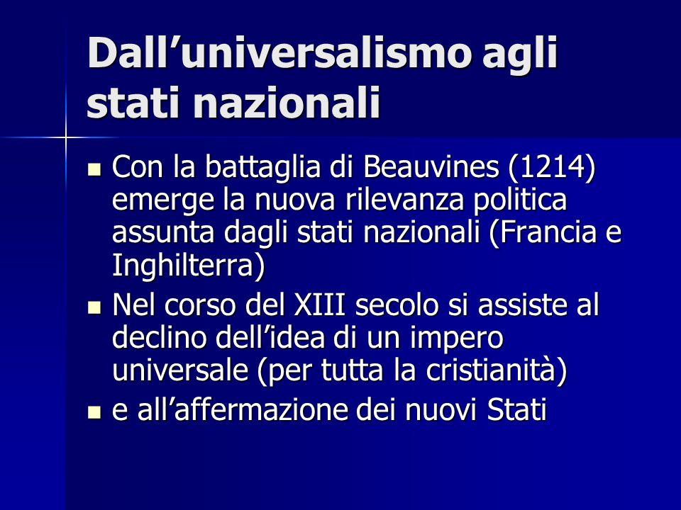 Dalluniversalismo agli stati nazionali Con la battaglia di Beauvines (1214) emerge la nuova rilevanza politica assunta dagli stati nazionali (Francia