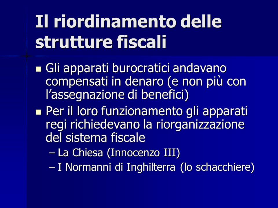 Il riordinamento delle strutture fiscali Gli apparati burocratici andavano compensati in denaro (e non più con lassegnazione di benefici) Gli apparati