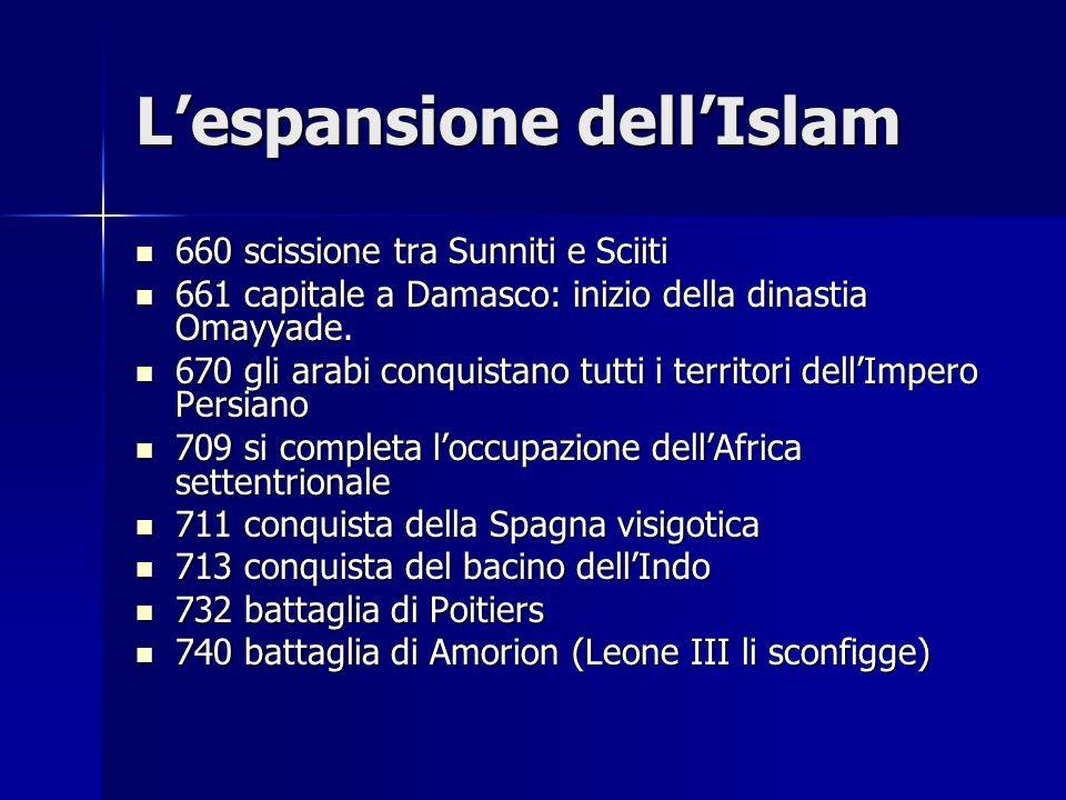 Lespansione dellIslam 660 scissione tra Sunniti e Sciiti 660 scissione tra Sunniti e Sciiti 661 capitale a Damasco: inizio della dinastia Omayyade. 66