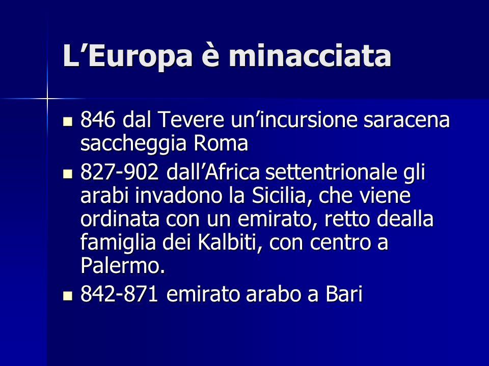 LEuropa è minacciata 846 dal Tevere unincursione saracena saccheggia Roma 846 dal Tevere unincursione saracena saccheggia Roma 827-902 dallAfrica sett