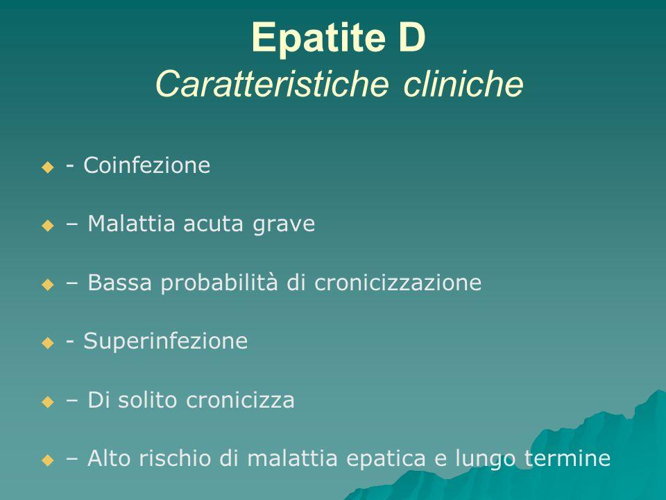 Epatite D Caratteristiche cliniche - Coinfezione – Malattia acuta grave – Bassa probabilità di cronicizzazione - Superinfezione – Di solito cronicizza