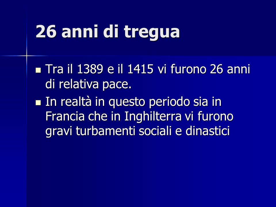 26 anni di tregua Tra il 1389 e il 1415 vi furono 26 anni di relativa pace. Tra il 1389 e il 1415 vi furono 26 anni di relativa pace. In realtà in que