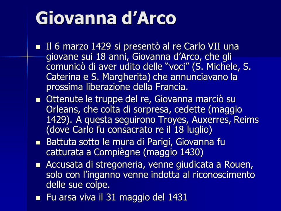 Giovanna dArco Il 6 marzo 1429 si presentò al re Carlo VII una giovane sui 18 anni, Giovanna dArco, che gli comunicò di aver udito delle voci (S. Mich