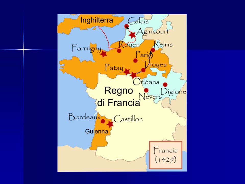 La conclusione della guerra Carlo VII aveva recuperato il consenso attorno al suo trono Carlo VII aveva recuperato il consenso attorno al suo trono 1435 Congresso di Arras (su spinta del papa e del Concilio di Basilea) 1435 Congresso di Arras (su spinta del papa e del Concilio di Basilea) 1436 presa di Parigi 1436 presa di Parigi 1453 pace: gli inglesi rinunciavano ad ogni diritto territoriale in Francia, salvo Calais.