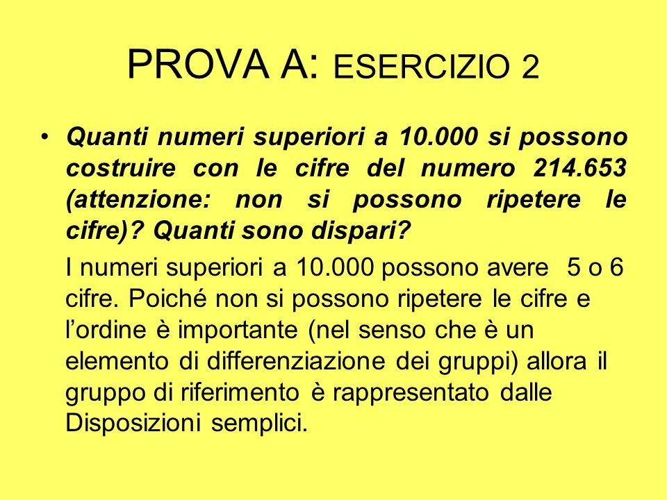 PROVA B : ESERCIZIO 2 La risposta alla domanda a) è quindi: Per quanto riguarda il calcolo del numero dei numeri dispari, si deve tener e presente che lultima cifra deve essere una delle 3 cifre dispari presenti nel numero 214653.