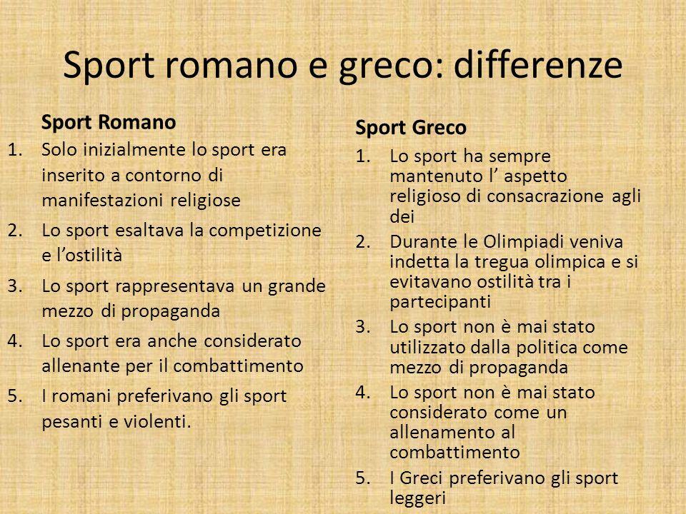 Introduzione La cultura sportiva Romana esaltava la competizione fisica. Le competizioni sportive venivano indicate col termine ludi ed erano inizialm