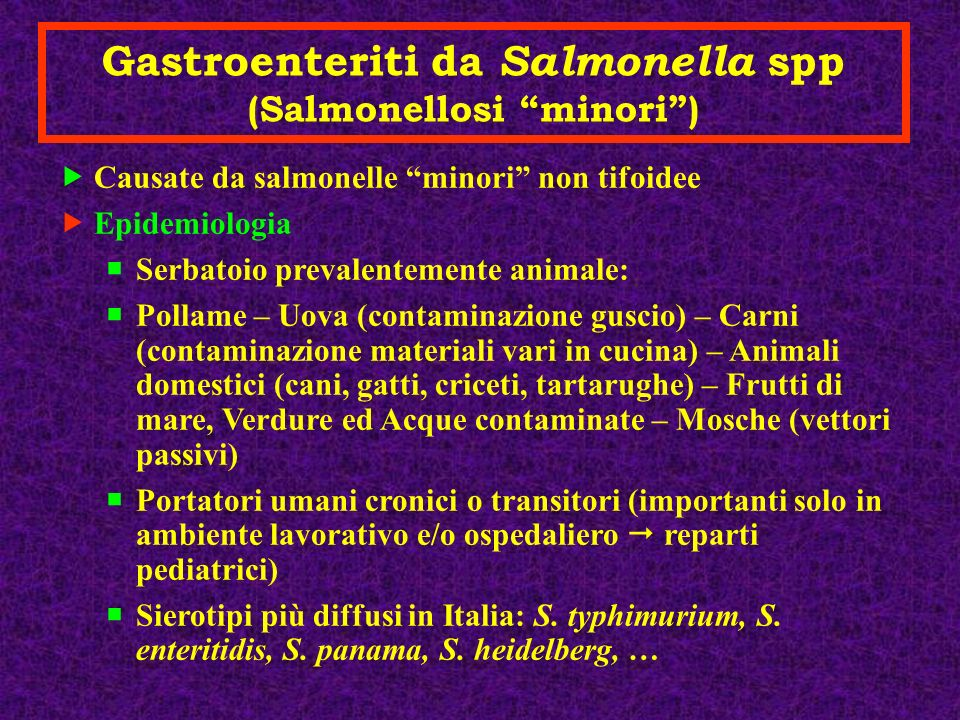 Gastroenteriti da Salmonella spp Patogenesi: Trasmissiome oro-fecale; acquisizione tramite acqua o alimenti contaminati superamento barriera gastrica intestino: aggressione della mucosa (diretta, non esotossine) GEA