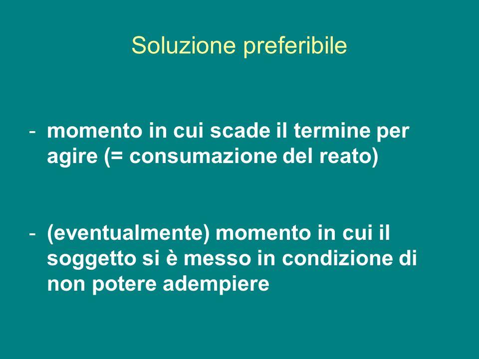 Soluzione preferibile -momento in cui scade il termine per agire (= consumazione del reato) -(eventualmente) momento in cui il soggetto si è messo in